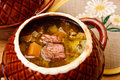 Russian cabbage soup with beef Royalty Free Stock Photos