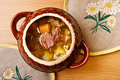 Russian cabbage soup with meat Stock Images