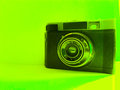 Russian camera old retro object in green background Royalty Free Stock Images