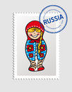 Russian cartoon person postal stamp woman doll russia vector illustration layered for easy editing Stock Photos