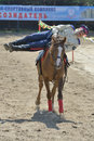 Russian championship in trick riding lytkarino moscow region russia july anton portnov from moscow performs stunts during Stock Photography