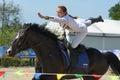 Russian championship in trick riding lytkarino moscow region russia july maria kholodova performs stunt during lytkarino housed Stock Photos