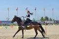Russian championship in trick riding lytkarino moscow region russia july victoria dubasova performs stunts during lytkarino housed Stock Photo