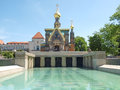 Russian chapel in darmstadt and fountain at kuenstler kolonie artists colony germany Royalty Free Stock Photo