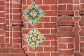 Russian church decoration detailed red brick wall fragment of ancient orthodox in yaroslavl city with traditional ceramic tile Royalty Free Stock Photo