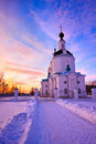 Russian church at winter sunset Royalty Free Stock Photo
