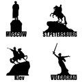 Russian city symbol silhouette set moscow st petersburg volgograd and ukrainian kiev Stock Photography