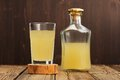 Russian cold rye beverage Kvass in glass and bottle on wooden ta Royalty Free Stock Photo
