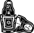 Russian doll death inside woodcut style image of a nested with a skeleton Stock Photos