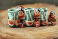 Russian doll with dollars inside. Anti crisis money box. Matrioska bank.