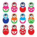 Russian doll retro babushka colorful icons set girl toy matryoshka isolated on white Royalty Free Stock Images