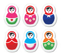Russian doll retro babushka icons set woman toy matryoshka colorful labels on white Stock Photography