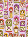 Russian doll seamless pattern dolls in different shapes Stock Photo