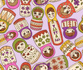 Russian doll seamless pattern vector dolls in different shapes Stock Images