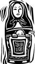 Russian doll woodcut style image of a a nested with another inside trying to escape or hide Stock Image