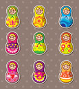 Russian dolls stickers Stock Photo