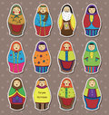 Russian dolls stickers Royalty Free Stock Photos