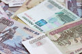 Russian federation banknotes close up of heap of Royalty Free Stock Image