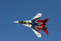Russian fighter jet at airshow sukhoi performs an in al ain united arab emirates Royalty Free Stock Photography