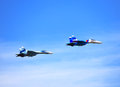 Russian fighters in sky Royalty Free Stock Photo