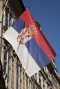 Russian Flag with Coat of Arms in Prague, Stock Photo