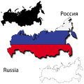 Russian flag map maps of russia dimensional with clipped inside borders and shadow and black and white contours of country shape Royalty Free Stock Images