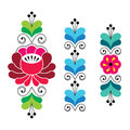 Russian folk art pattern - floral long stripes