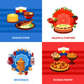 Russian Food 4 Flat Icons Square