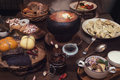 Russian food table Royalty Free Stock Photo
