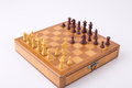 Russian gambit on chess board wooden with isolated white background Stock Image