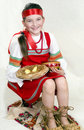 Russian girl national clothes and the big bast sh Stock Photo