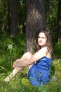 The russian girl in the russian forest Royalty Free Stock Photo