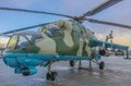 Russian helicopter ready to take off combat of army Stock Photography