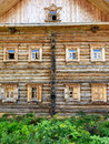 Russian house facade of the old rural wooden Stock Images