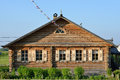 Russian house typical old wooden in countryside russia Royalty Free Stock Images