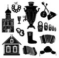 Russian icon set icons hand drawing symbol object collection discover russia Stock Photos