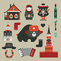 Russian icons vector set of various stylized Royalty Free Stock Photo