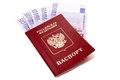 Russian international passport and euro money on white background Stock Photography