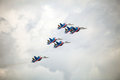 The Russian Knights aerobatic demonstration team of the Russian Air Force Royalty Free Stock Photo