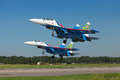 Russian knights st petersburg jul the aerobatic group the participants of the airshow on international maritime defence show imds Royalty Free Stock Image
