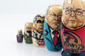 Russian leaders five dolls representing some of the of the past Stock Photo