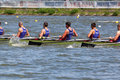 Russian men teams rowing at boat Royalty Free Stock Photos