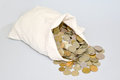 The Russian metallic currency is scattered from a bag. Bag of mo Royalty Free Stock Photo