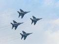 Russian military jet planes in sky four war showing aerobatics Stock Photography