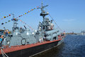Russian military ship kronstadt russia may in the port of kronshtadt st petersburg russia Royalty Free Stock Image