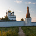 Russian monastery at sunset architecture background Stock Images
