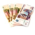Russian money notes of roubles isolated on white background Royalty Free Stock Images