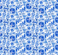 Russian national blue floral pattern Stock Image