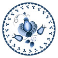 Russian national circular ornament. Blue floral pattern in Gzhel