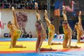 Russian national gymnastics aesthetic team russia moscow march unidentified sportsmen of dance on world sambo championship Royalty Free Stock Photography